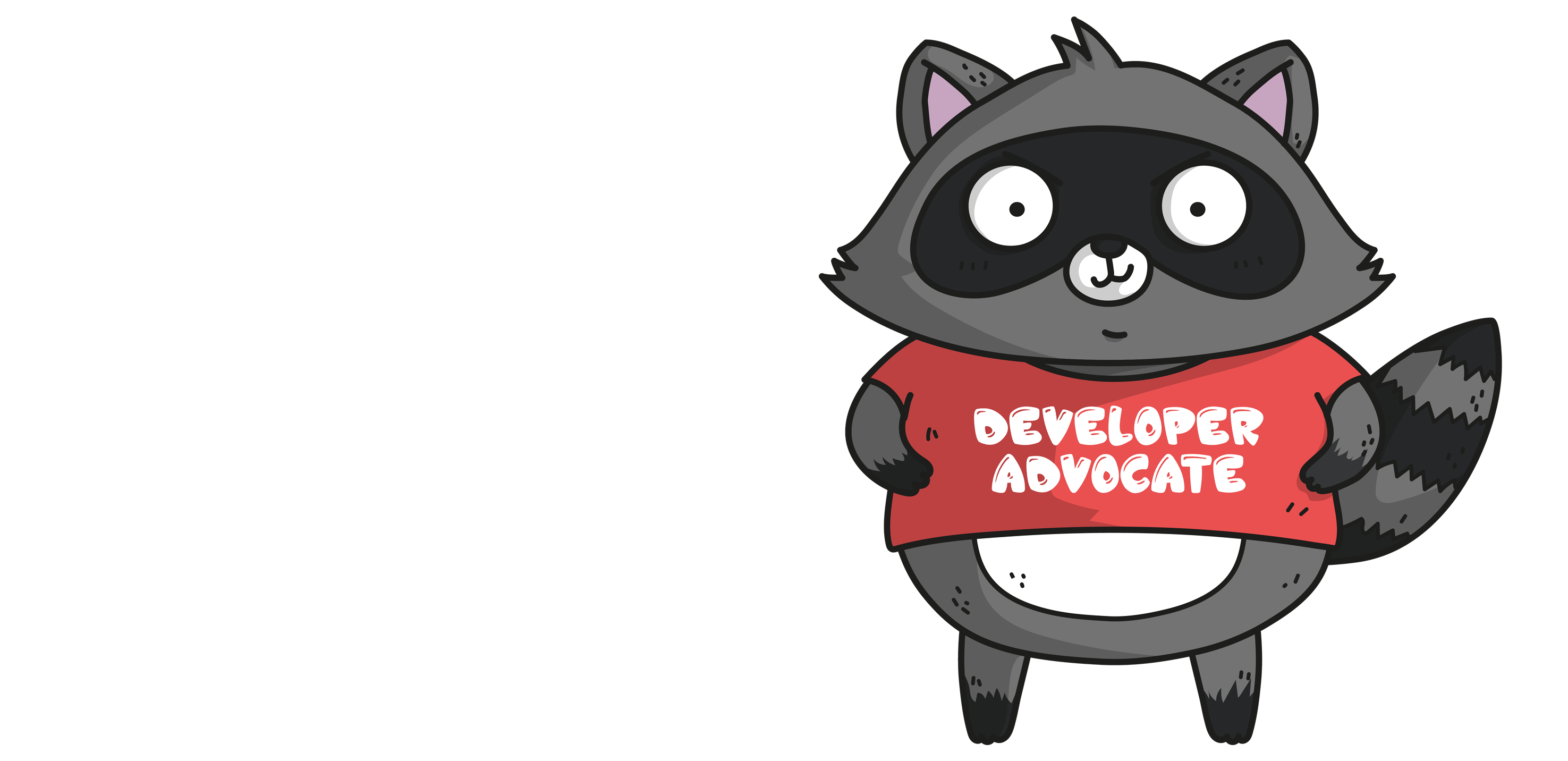 Developer Advocate Bit in een rood t-shirt met Developer Advocate-label.