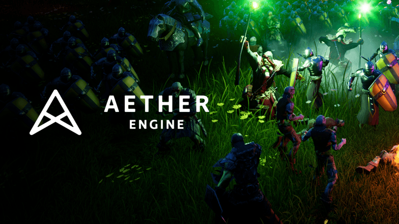 Video game artwork and logo for Aether Engine