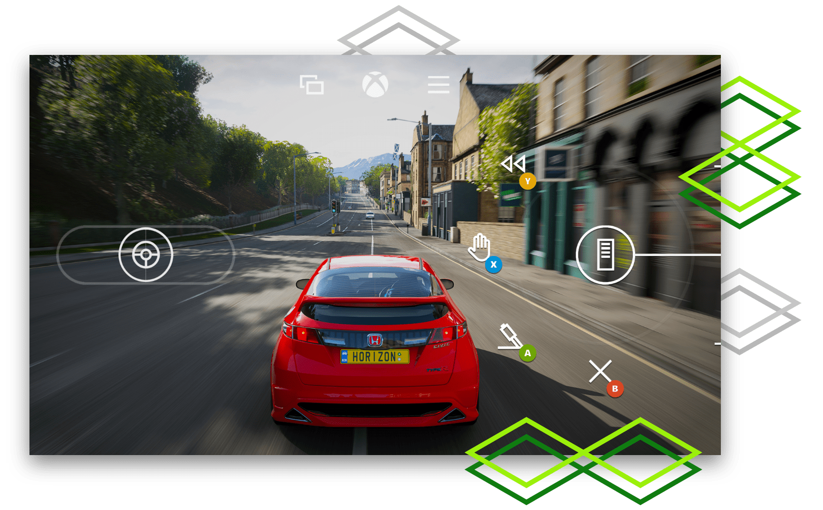 "Visual of a game driving a red Honda with ""HORIZON"" on the license plate"