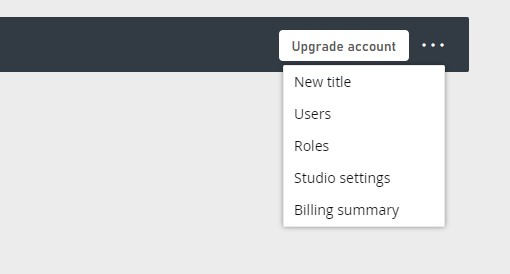 new titles, users, roles, studio settings, billing summary menu options in game manager
