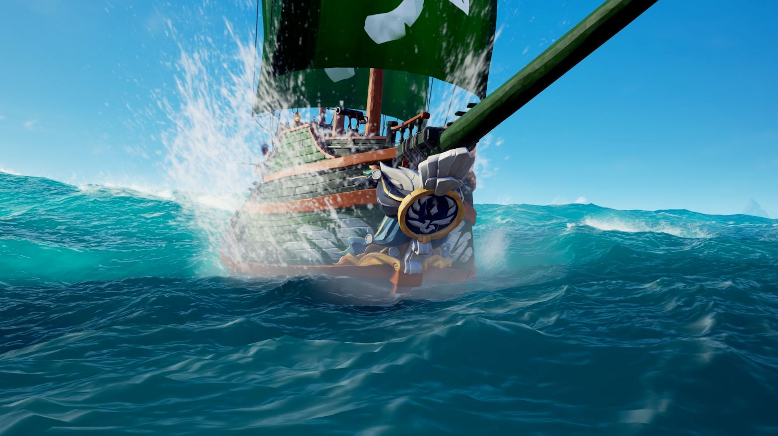 Sea of Thieves gameplay screenshot featuring a boat on the openseas.