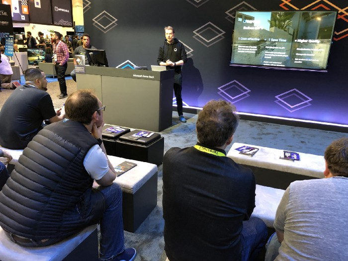 Gameye CEO Sebastiaan Heijne presenting on the Microsoft booth at GDC 2019