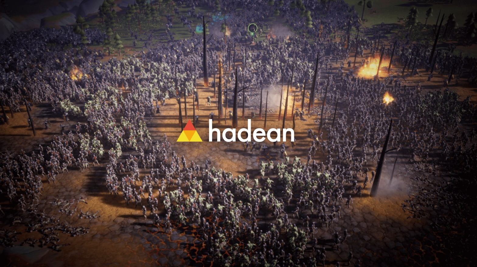 hadean logo on background with a bunch of soldiers on a barren field