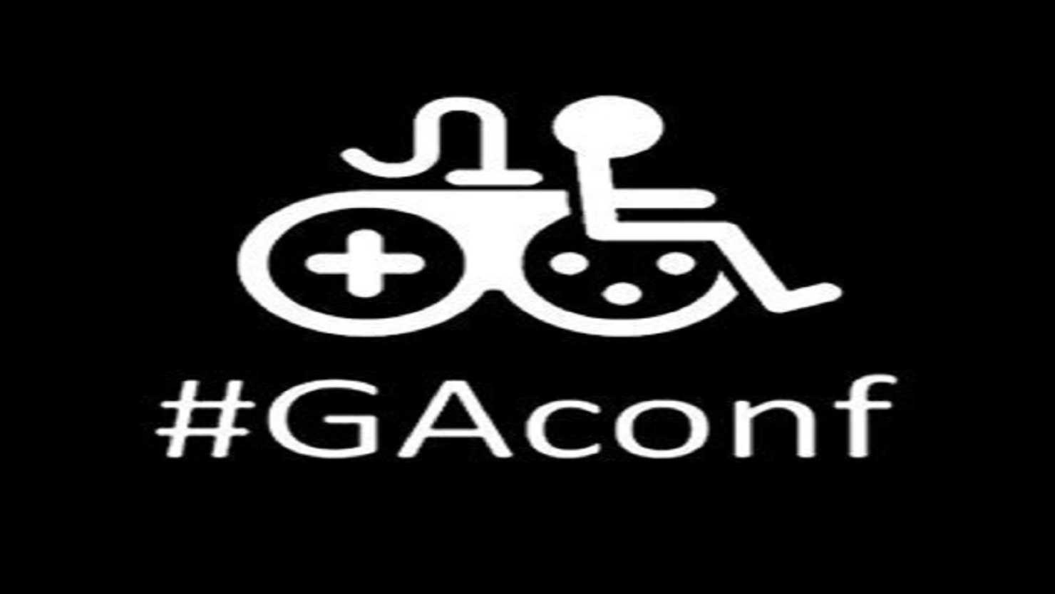 GAConf Logo of a controller merged with wheelchair