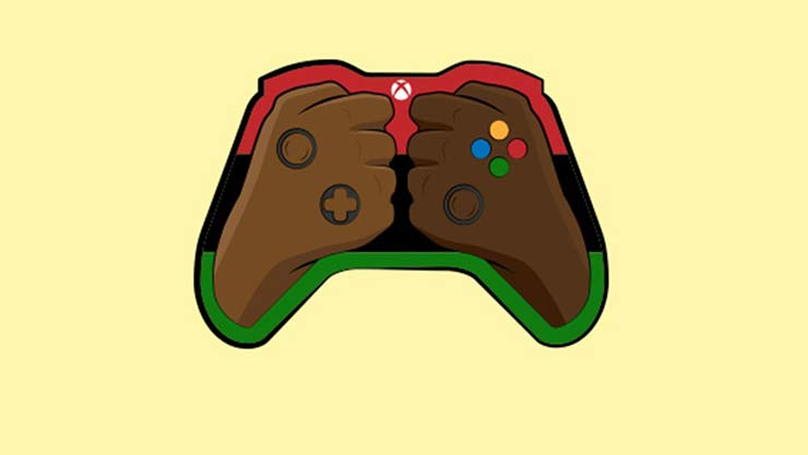 Blacks in gaming Xbox controller illustration