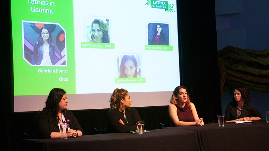 Four game developers from the Latina community talk on a panel