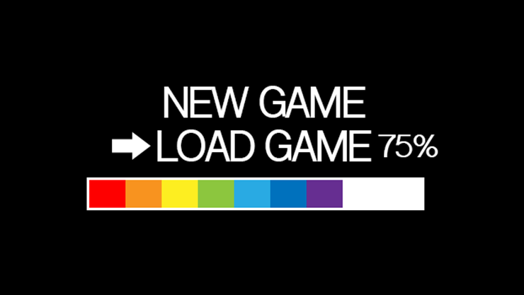 Game load screen with rainbow progress bar