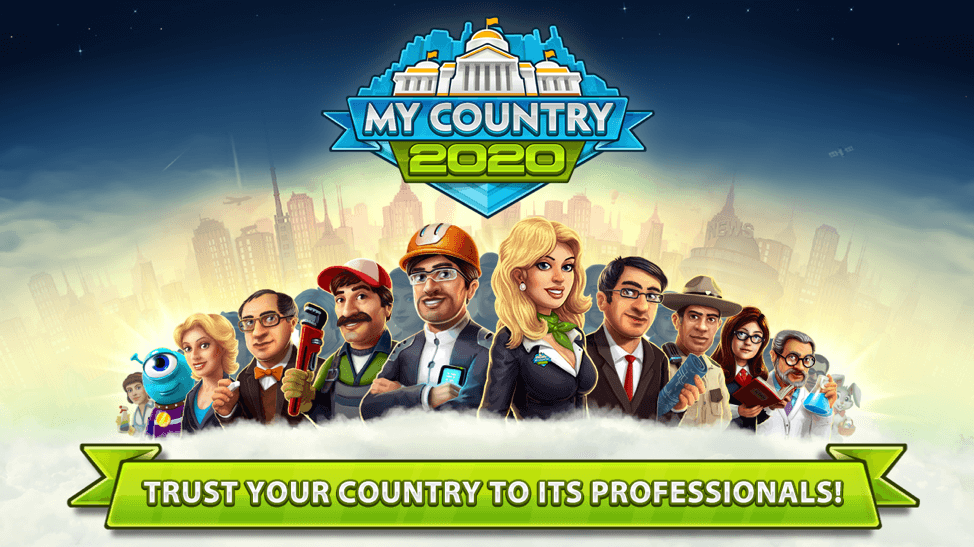 My Country 2020 hero image showing 13 in game characters side by side in front of a city backdrop
