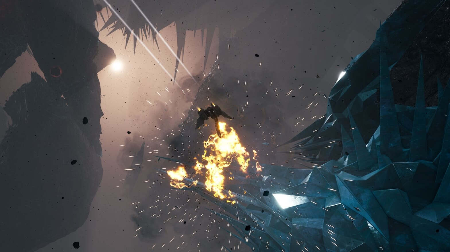A spaceship in a battle with an explosion in the middle of the image