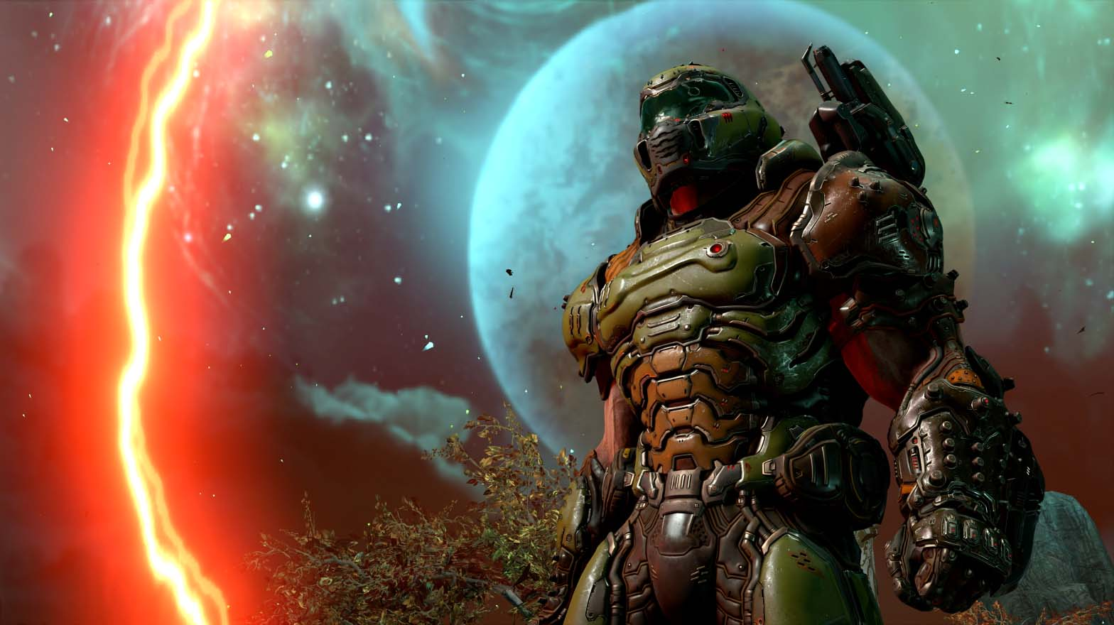 Doom character with planet in the background